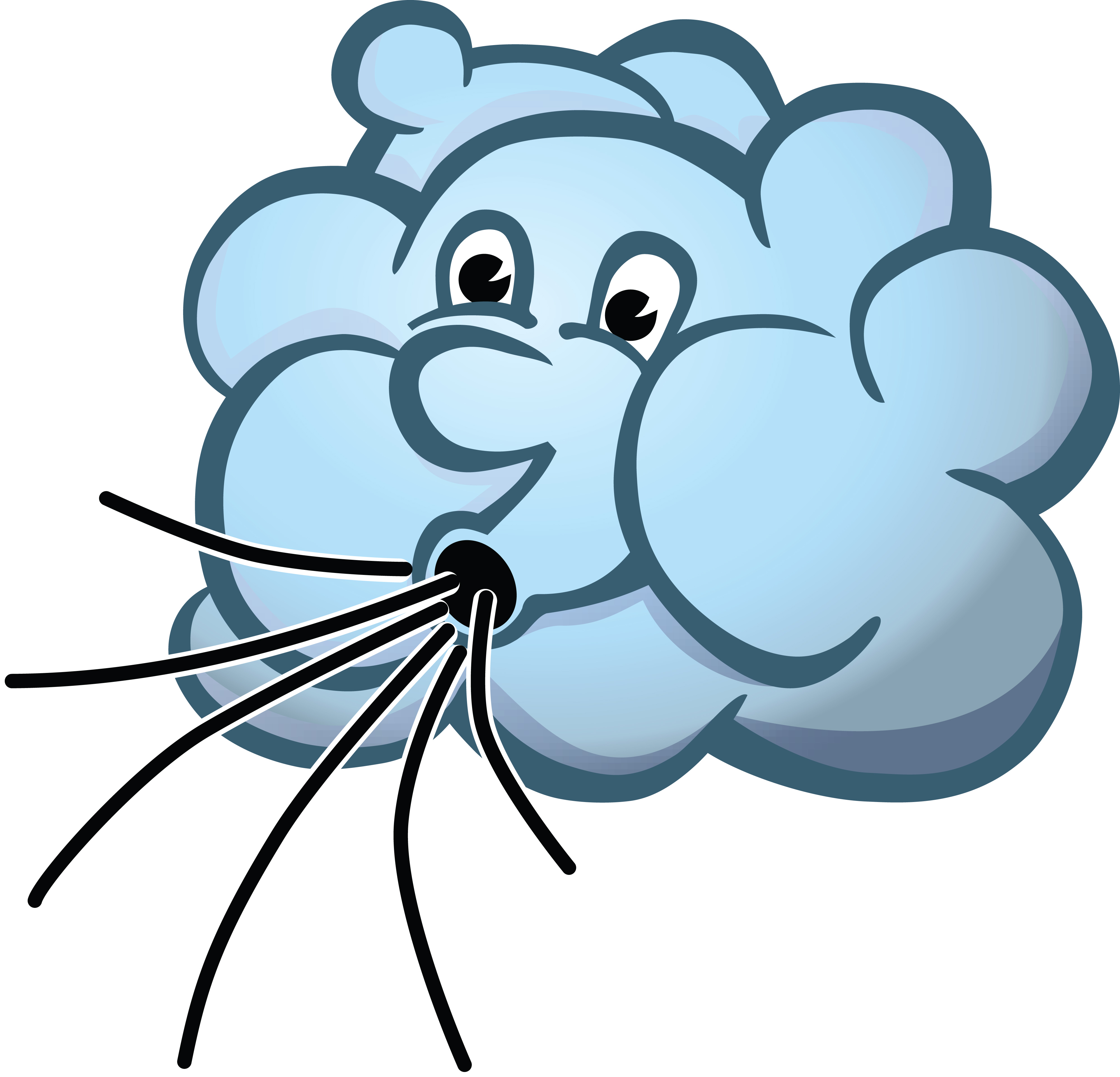 Free Clipart Of A cloud blowing wind.