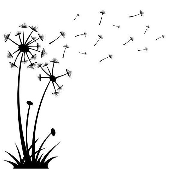 Dandelions Blowing in the Wind, vinyl wall art. Dandelion.