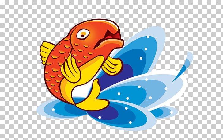 Koi Fish Cartoon , Koi fish leap into the sky from the water.