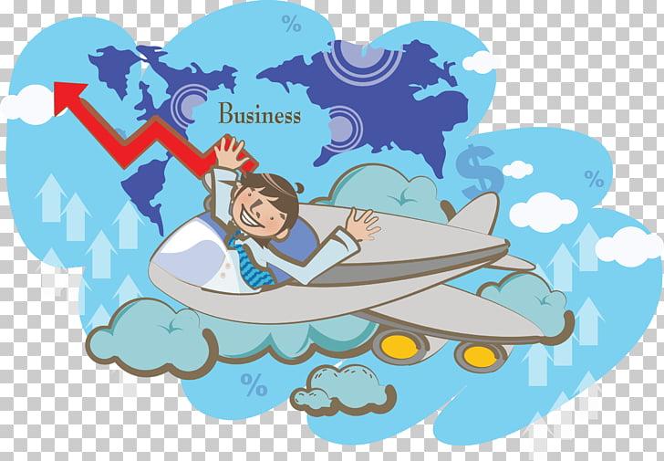 Airplane Cartoon Illustration, Global creative leap PNG.