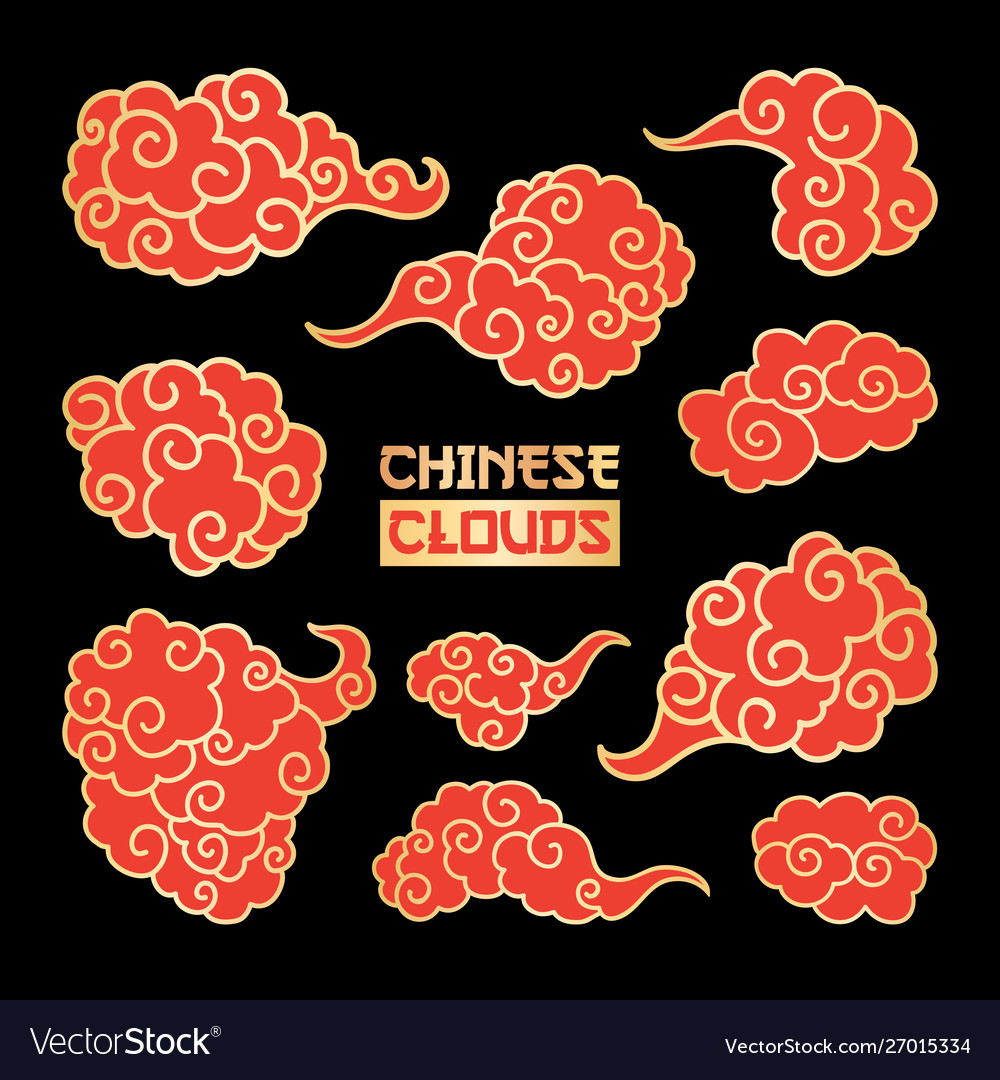 Red clouds and wind blows hand drawn.