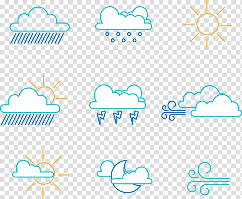 Meteorology Wind Icon, hand.