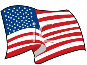 American Flag Fluttering In The Wind Clipart.