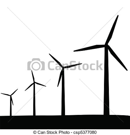 Vector Clipart of Wind Turbines Silhouette csp5377080.