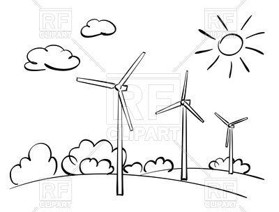 Wind turbines and nature.