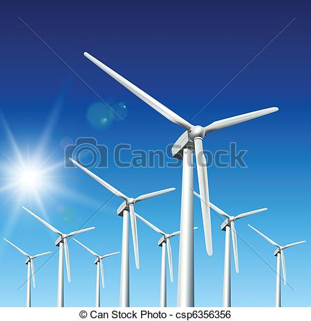 Clip Art Vector of Wind turbines.