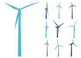 Wind Turbines Silhouettes, Vectors.