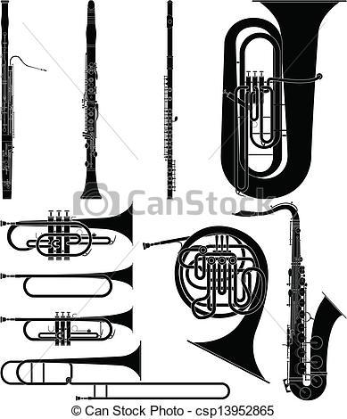 Clip Art Vector of Wind Instruments.