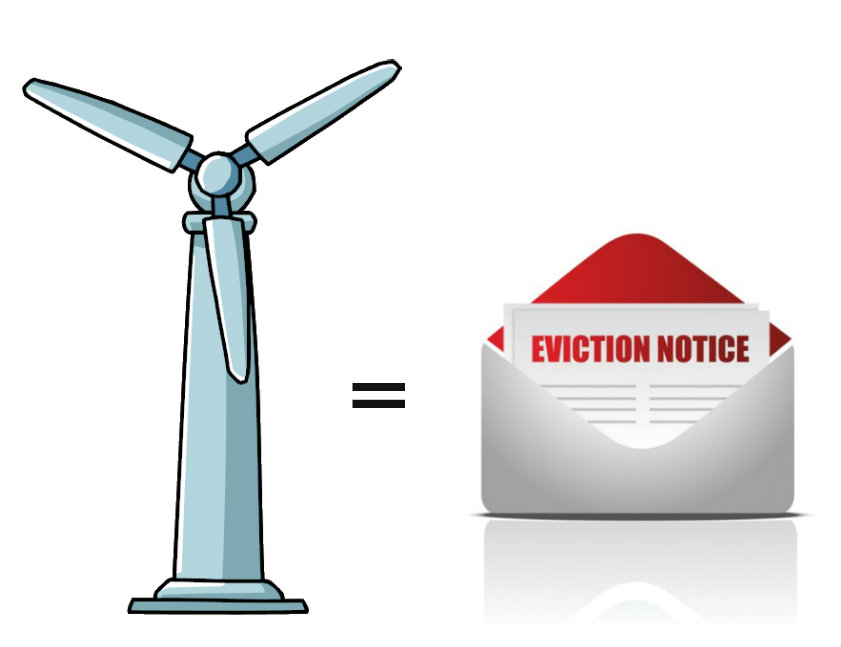 Moving wind turbine clipart.