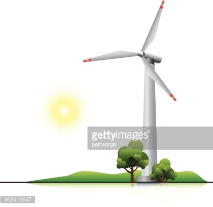 Wind turbine with trees and little hill Clipart Image.
