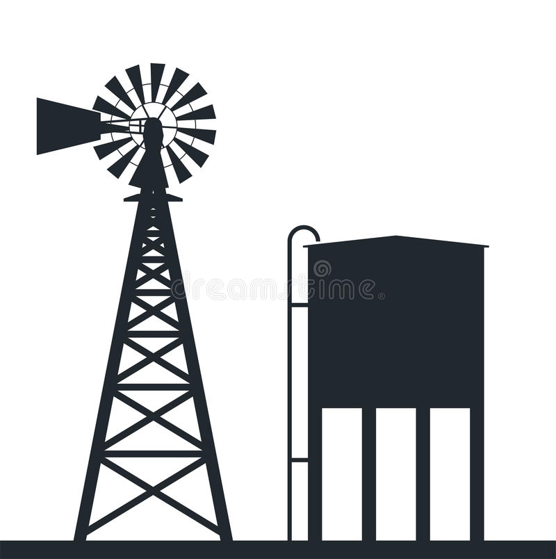 Windpump Stock Illustrations.