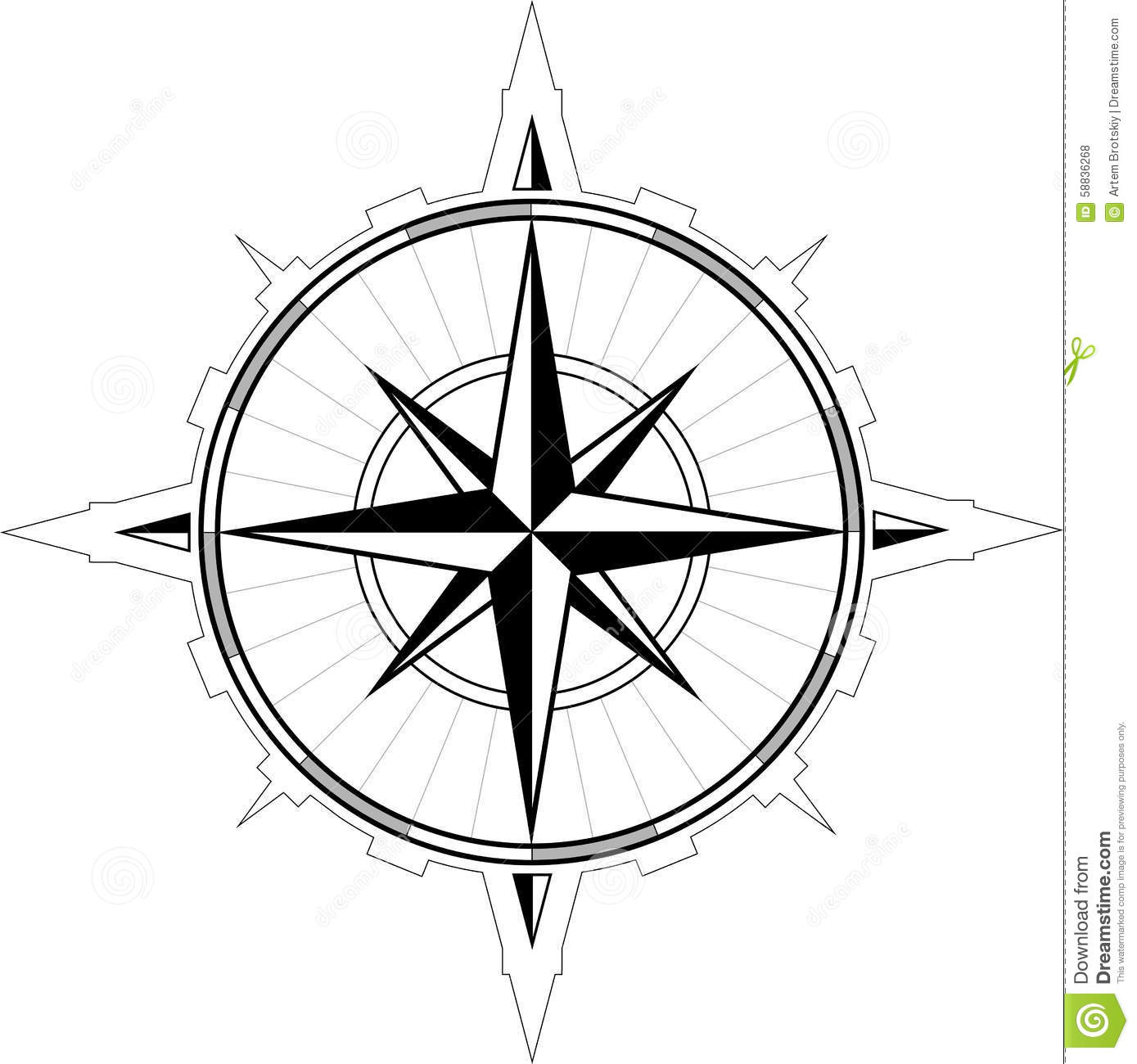 Wind Rose Compass Stock Vector.