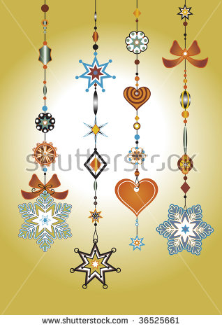 Vector Illustration Of Decorative Wind Chimes With Funky Snowflake.