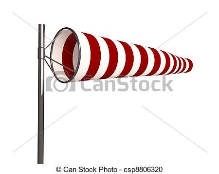 Stock Photography of windsock isolated on white background.
