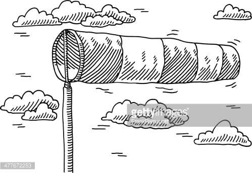 Windsock Air Speed Indicator Drawing Vector Art.