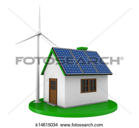Drawings of House with Solar Panels k14615034.