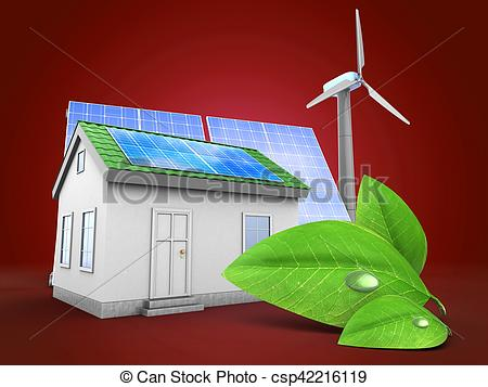 Clipart of 3d green house with solar and wind energy.