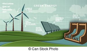 Vectors of low energy house with solar panel and wind turbine.