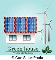 Vector Clipart of Green City Silhouette Wind Turbine Solar Energy.