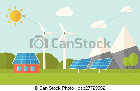 Vectors of House with solar panels and wind mills..