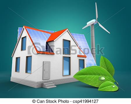 Clip Art of 3d modern house with solar and wind energy.