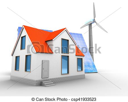 Clip Art of 3d solar and wind energy with house.