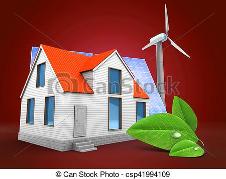 Stock Illustration of 3d house with solar and wind energy.