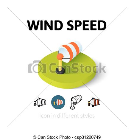 EPS Vector of Wind speed icon in different style.
