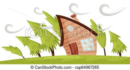 Flat vector scene with house and fir trees blowing away by strong wind.  Powerful windstorm. Natural disaster.
