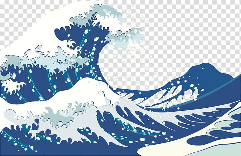 Water waves illustration, Wind wave Wave Euclidean , Deep.