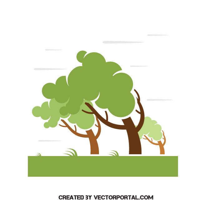 Wind blowing trees vector image.