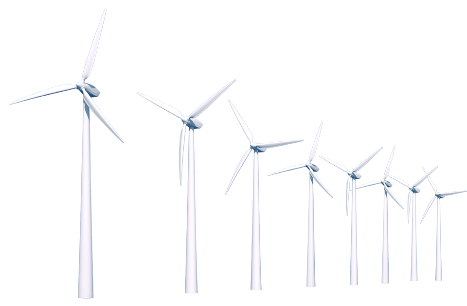 Row Of Wind Turbines transparent PNG.