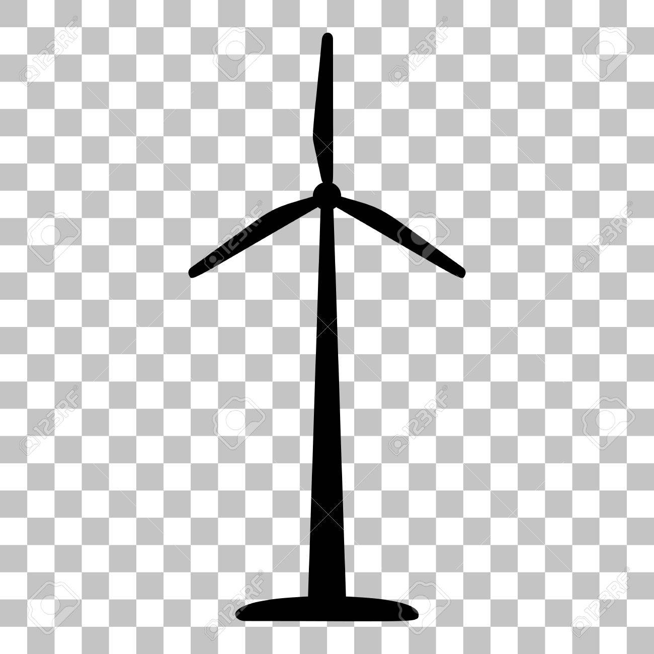 Wind turbine logo or sign. Flat style black icon on transparent...