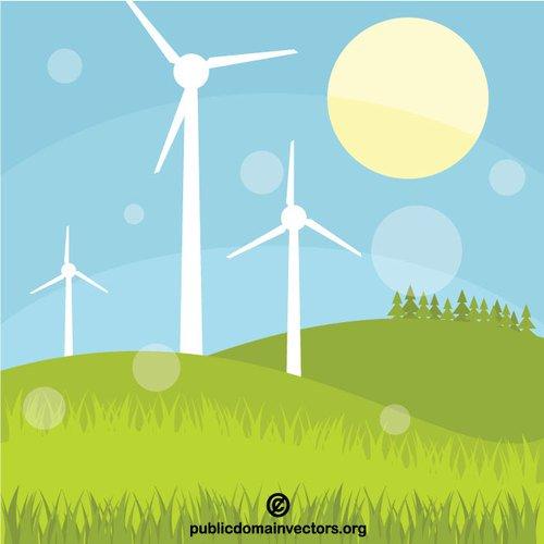 Wind turbines vector clip art.