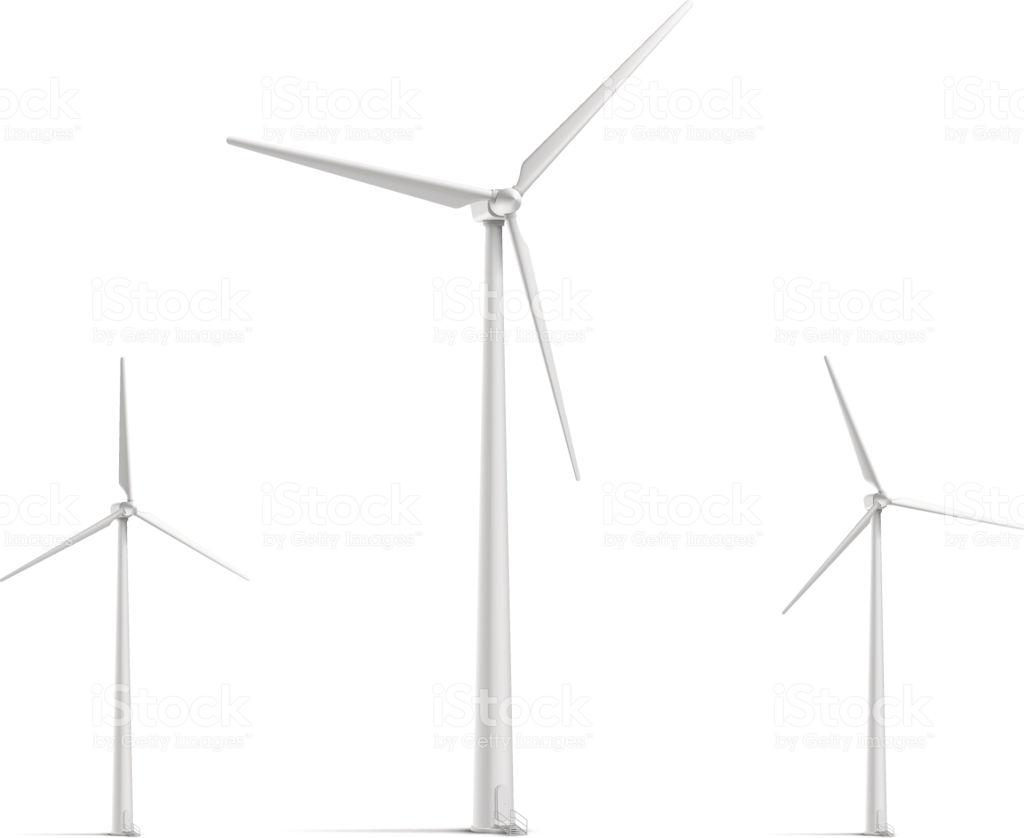 Wind Turbine Set Stock Illustration.