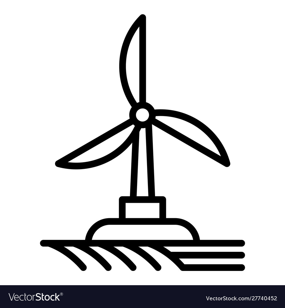 Field wind turbine icon outline style.