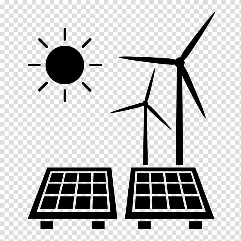 Black sun, wind turbine, and solar panel illustraiton.