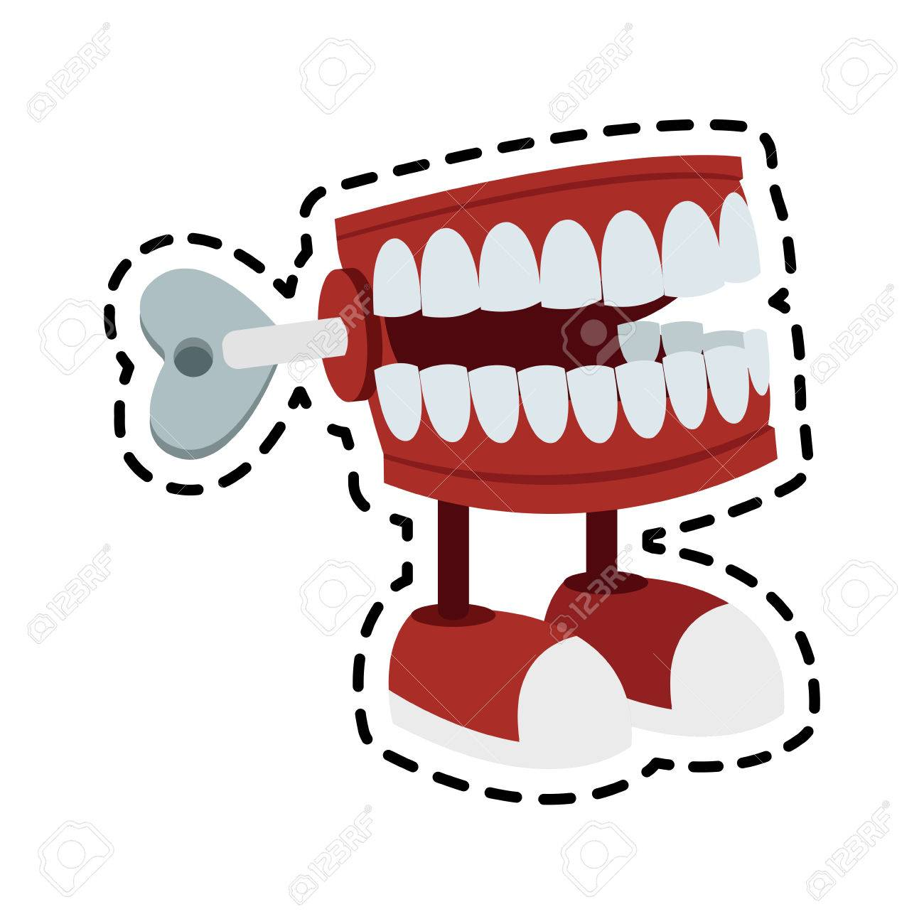 Chattering teeth wind up toy icon image » Clipart Station.