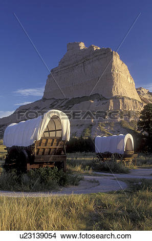 Stock Photo of Scotts Bluff, Nebraska, Covered wagon exhibits with.