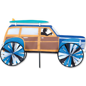 "30"" Woody Surfer Wagon Yard Garden Ground Wind Spinner."
