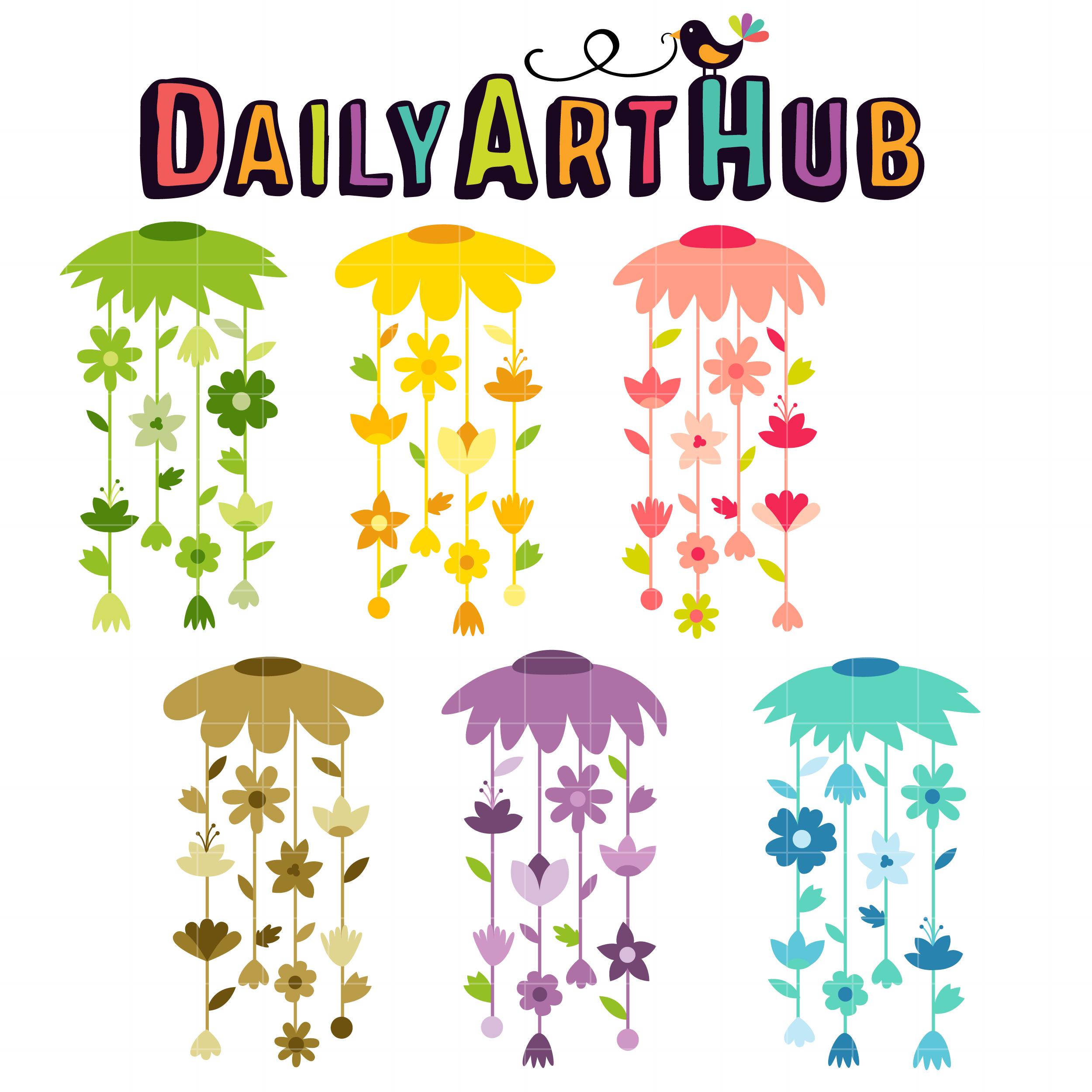 Floral Wind Chimes Clip Art Set.