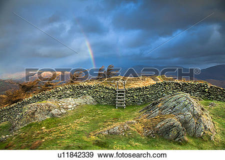 Stock Photograph of England, Cumbria, Windermere. Rainbow over.