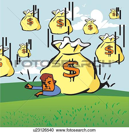 Stock Illustrations of Man quailed under money bags while windfall.