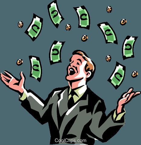 money windfall Royalty Free Vector Clip Art illustration.