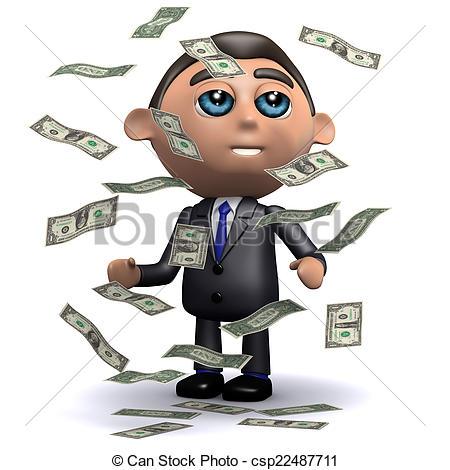 Clipart of 3d Salesman gets a windfall of US Dollar bills.