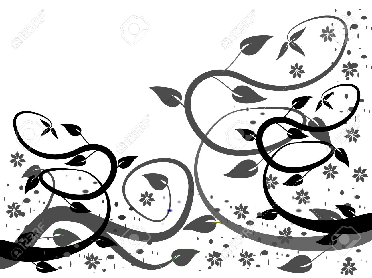A Black And White Abstract Floral Vector Design With Winding.