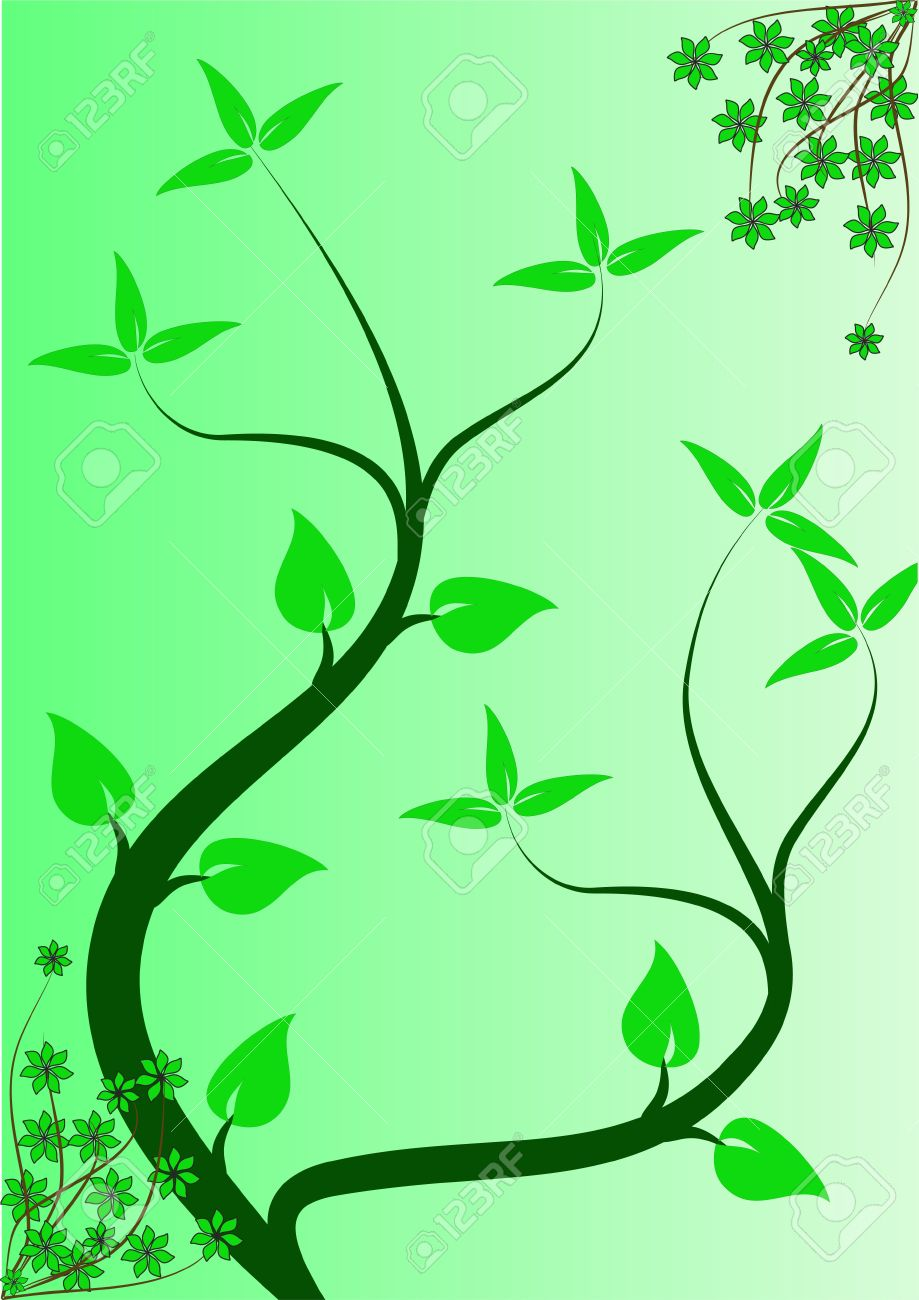 An Abstract Floral Background Ilustration With Winding Vines.