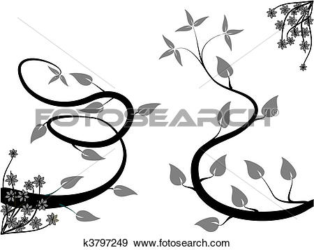 Clip Art of A black and white abstract floral background.