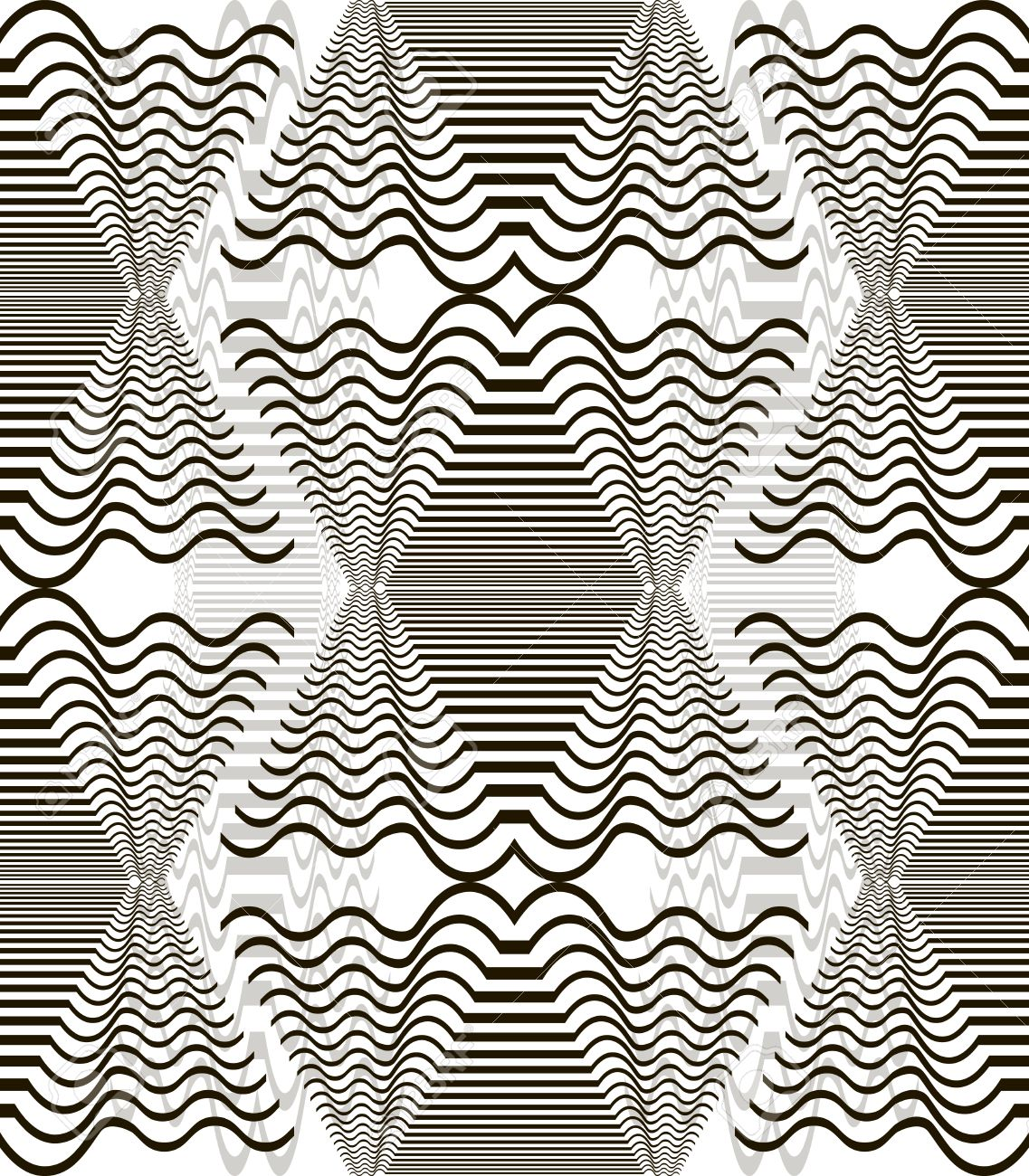 Seamless Pattern Of Wavy Elements. Horizontal Lines Forming.