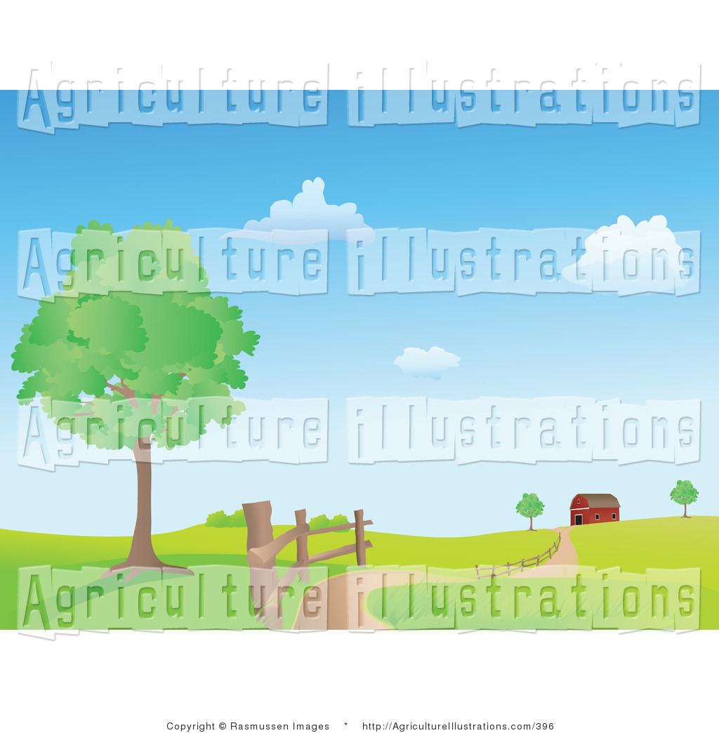 Agriculture Clipart of a Country Road Winding Along a Fence.